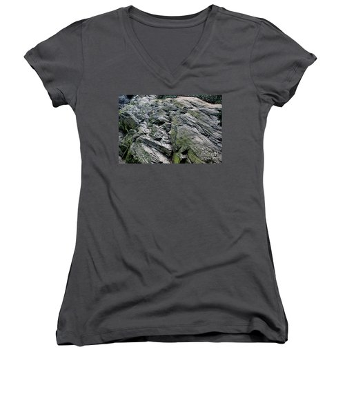 Women's V-Neck T-Shirt (Junior Cut) featuring the photograph Large Rock At Central Park by Sandy Moulder