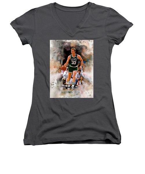 Larry Bird Women's V-Neck T-Shirt (Junior Cut)