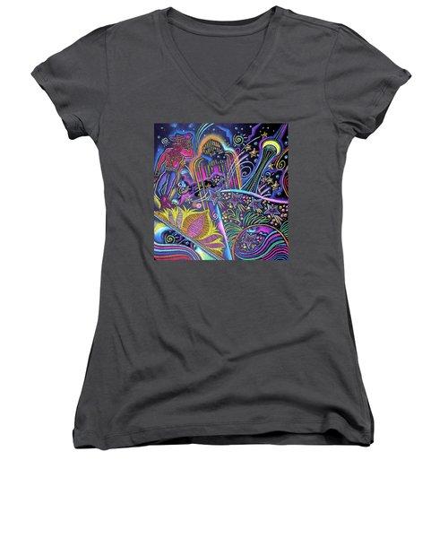 Women's V-Neck T-Shirt (Junior Cut) featuring the painting Las Vegas by Leon Zernitsky