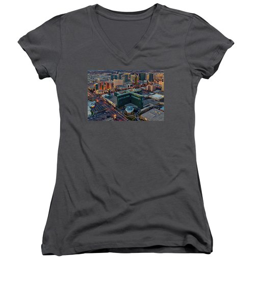 Women's V-Neck T-Shirt (Junior Cut) featuring the photograph Las Vegas Nv Strip Aerial by Susan Candelario