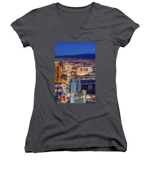 Women's V-Neck T-Shirt (Junior Cut) featuring the photograph Las Vegas Strip From The Stratosphere Tower by Aloha Art