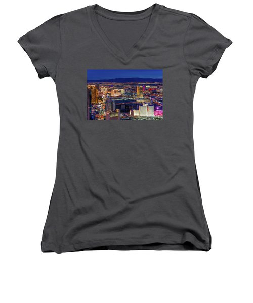 Women's V-Neck T-Shirt (Junior Cut) featuring the photograph Las Vegas Strip From The Stratosphere Wide by Aloha Art