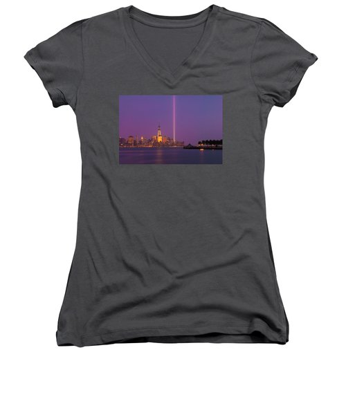 Laser Twin Towers In New York City Women's V-Neck T-Shirt (Junior Cut) by Ranjay Mitra