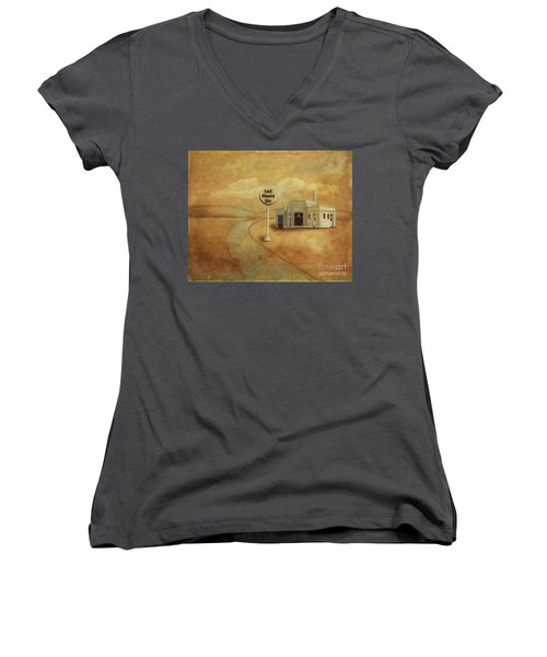 Women's V-Neck T-Shirt featuring the digital art Last Chance Gas by Lois Bryan