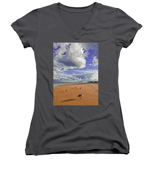 Last Day At The Beach Women's V-Neck T-Shirt (Junior Cut) by Jim Moore