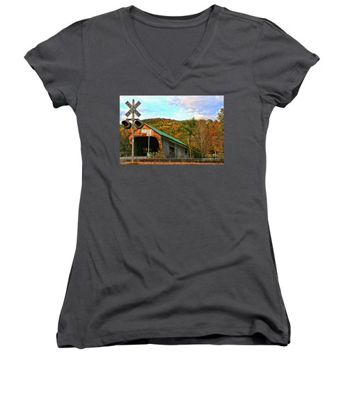 Women's V-Neck T-Shirt (Junior Cut) featuring the photograph Last Days by DJ Florek