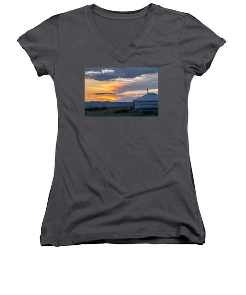 Women's V-Neck T-Shirt (Junior Cut) featuring the photograph Last Golden Light, Elsen Tasarkhai, 2016 by Hitendra SINKAR