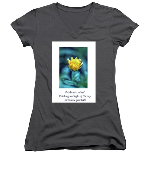 Last Light Haiku Women's V-Neck T-Shirt (Junior Cut) by Constantine Gregory