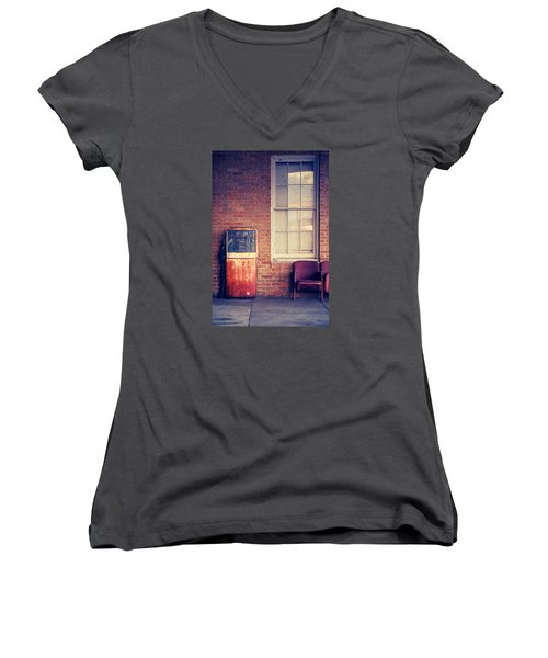 Women's V-Neck T-Shirt (Junior Cut) featuring the photograph Last Pump Standing by Trish Mistric