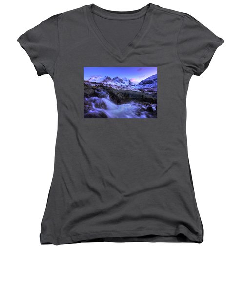 Women's V-Neck T-Shirt (Junior Cut) featuring the photograph Last Rays On Andromeda by Dan Jurak