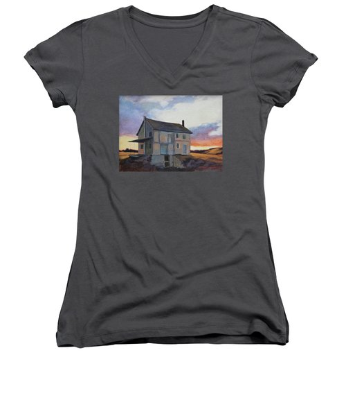 Women's V-Neck T-Shirt (Junior Cut) featuring the painting Last Stand by Andrew Danielsen