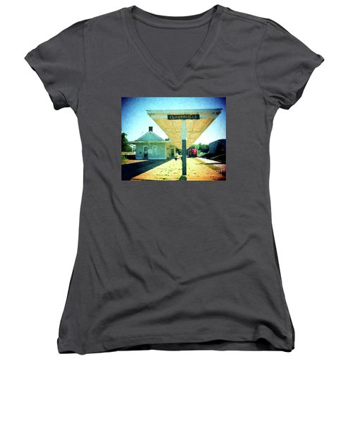 Last Train To Clarksville Women's V-Neck (Athletic Fit)