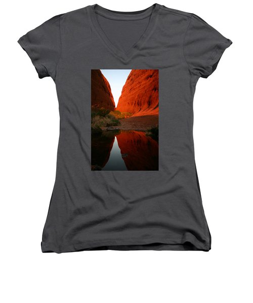 Late Afternoon Light And Reflections At Kata Tjuta In The Northern Territory Women's V-Neck