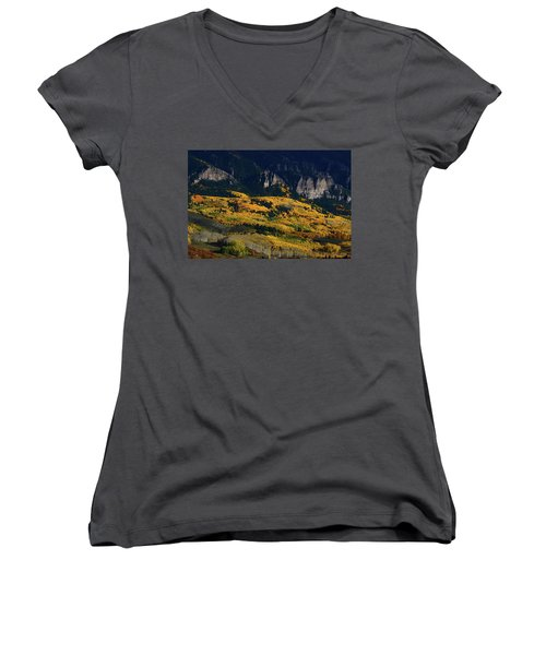 Women's V-Neck T-Shirt (Junior Cut) featuring the photograph Late Afternoon Light On Aspen Groves At Silver Jack Colorado by Jetson Nguyen