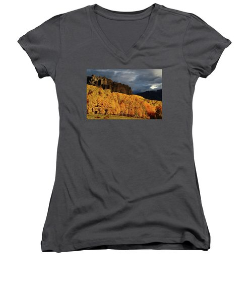 Women's V-Neck T-Shirt (Junior Cut) featuring the photograph Late Afternoon Light On The Cliffs Near Silver Jack Reservoir In Autumn by Jetson Nguyen