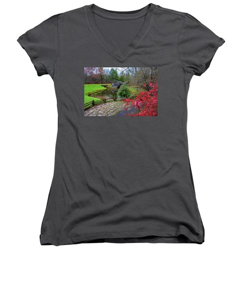 Late Fall At Mabry Mill Women's V-Neck (Athletic Fit)