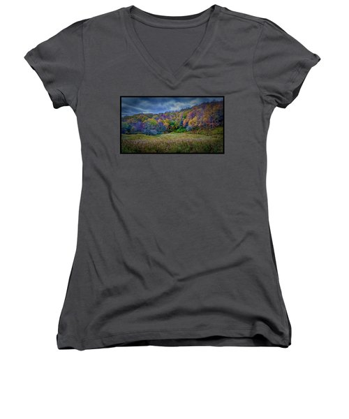 Late Fall On Green Knob Trail Women's V-Neck T-Shirt (Junior Cut)