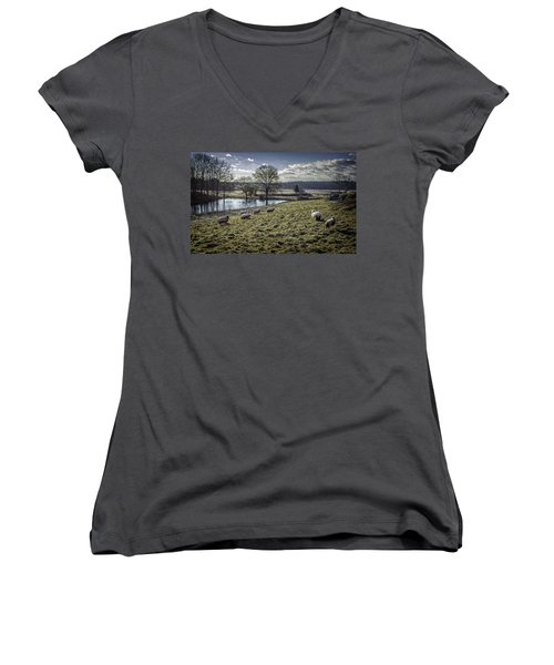 Late Fall Pastoral Women's V-Neck (Athletic Fit)