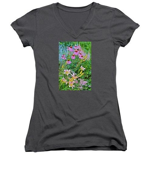 Late July Garden 3 Women's V-Neck T-Shirt (Junior Cut) by Janis Nussbaum Senungetuk