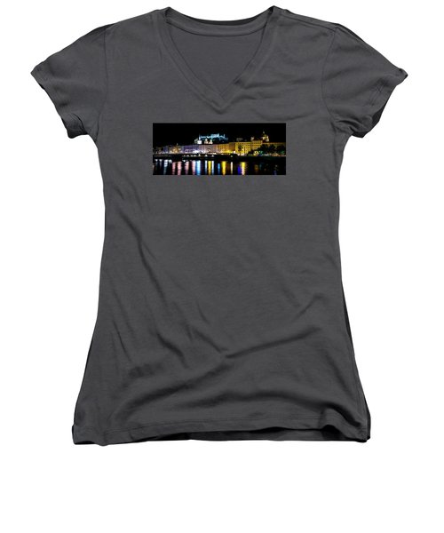 Women's V-Neck T-Shirt (Junior Cut) featuring the photograph Late Night Stroll In Salzburg by David Morefield