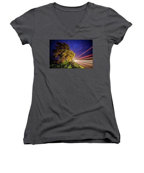 Late Night Texas Country Road Traffic Light Trails Women's V-Neck (Athletic Fit)