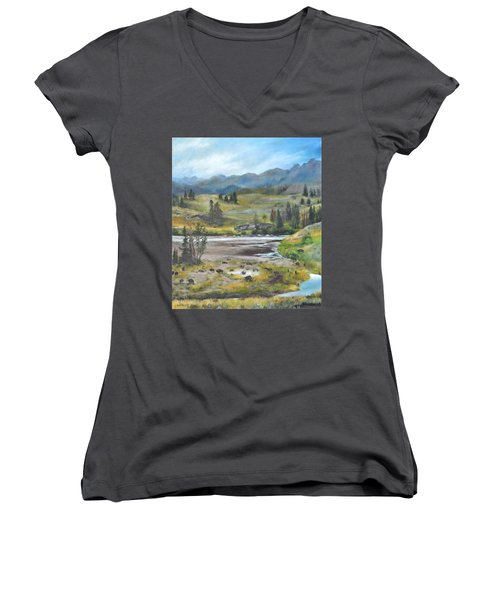 Late Summer In Yellowstone Women's V-Neck (Athletic Fit)