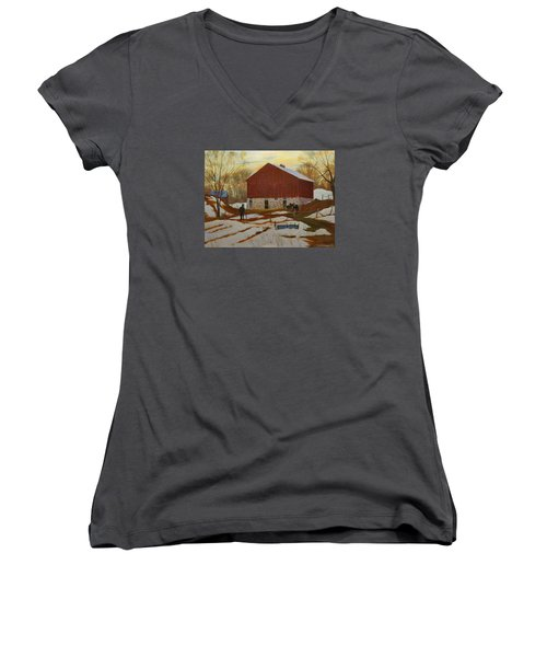 Late Winter At The Farm Women's V-Neck T-Shirt (Junior Cut) by David Gilmore