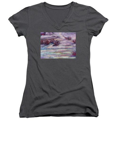 Late Winter Light Women's V-Neck T-Shirt (Junior Cut) by Becky Chappell