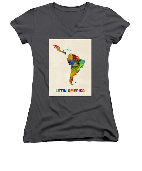Latin America Watercolor Map Women's V-Neck