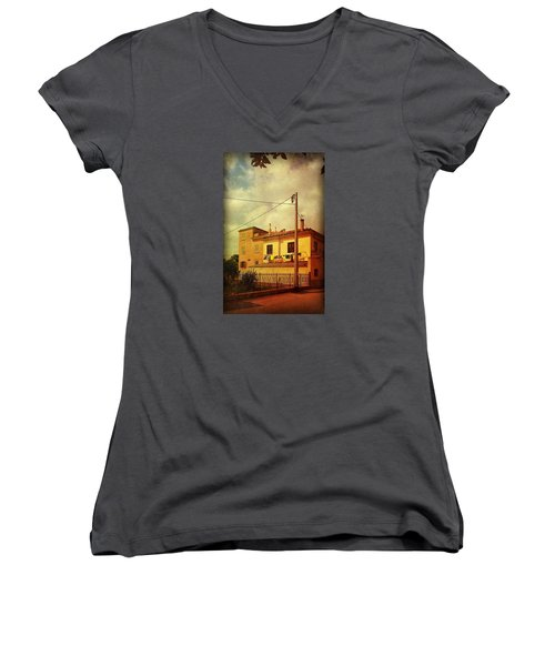 Women's V-Neck T-Shirt (Junior Cut) featuring the photograph Laundry Day by Anne Kotan
