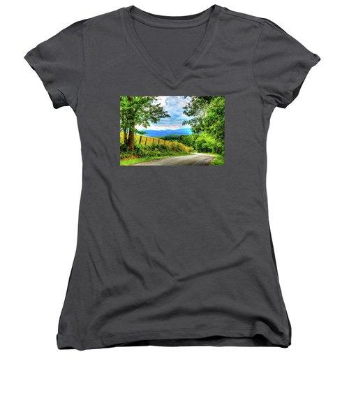 Laurel Hill View Women's V-Neck T-Shirt (Junior Cut) by Dale R Carlson