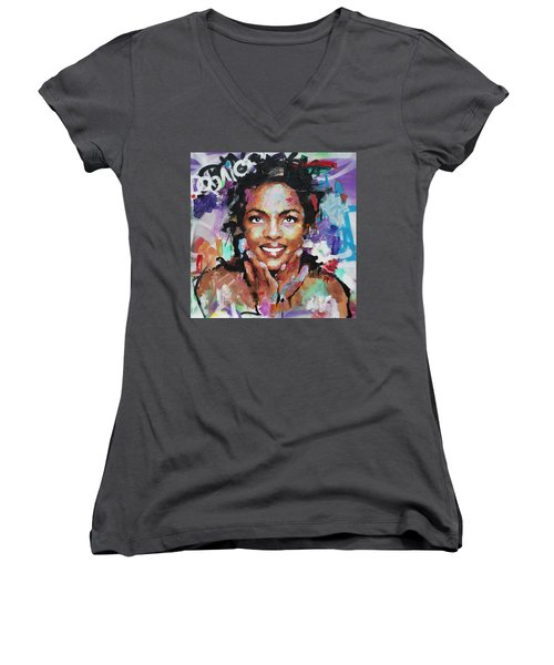 Women's V-Neck T-Shirt (Junior Cut) featuring the painting Lauryn Hill by Richard Day