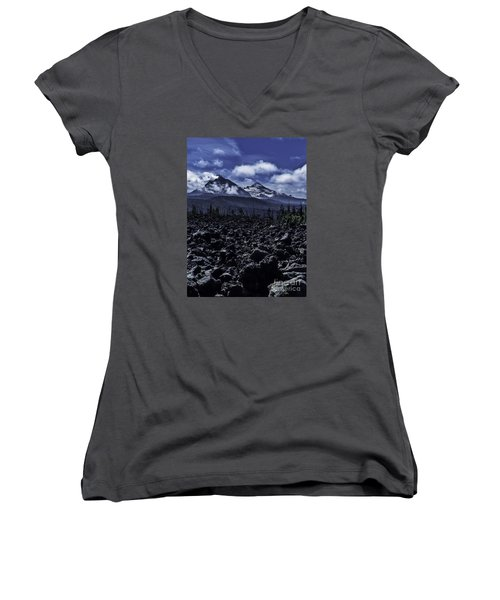 Lava Below The Sisters Women's V-Neck T-Shirt (Junior Cut) by Nancy Marie Ricketts