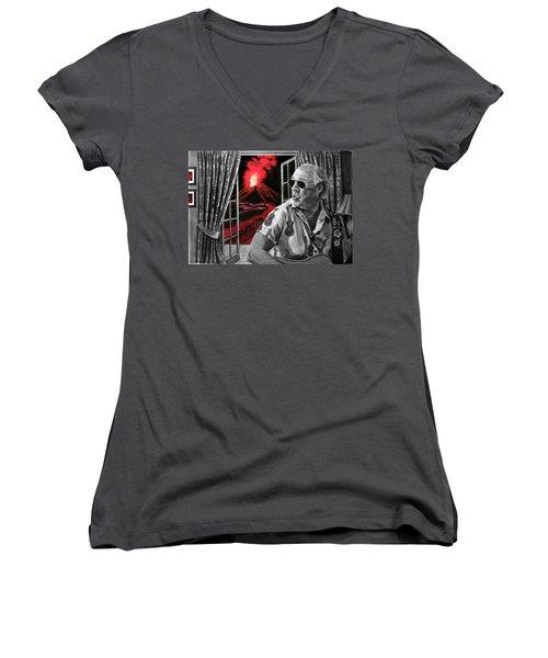 Lava Me Now Or Lava Me Not Women's V-Neck T-Shirt (Junior Cut) by William Underwood