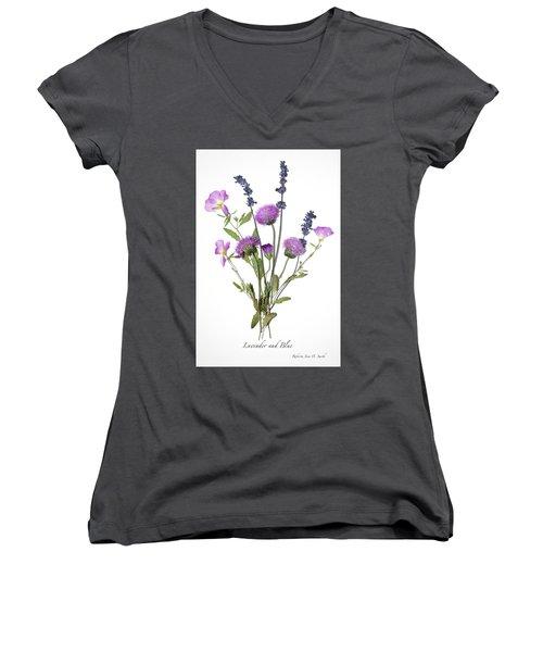 Lavender And Blue Women's V-Neck (Athletic Fit)