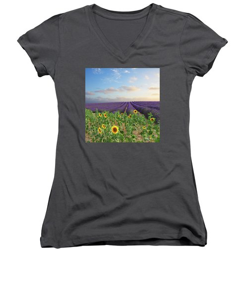 Lavender And Sunflower Flowers Field Women's V-Neck T-Shirt (Junior Cut) by Anastasy Yarmolovich