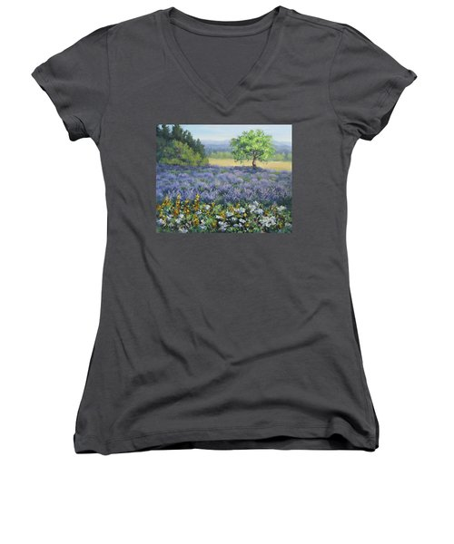 Women's V-Neck T-Shirt (Junior Cut) featuring the painting Lavender And Wildflowers by Karen Ilari