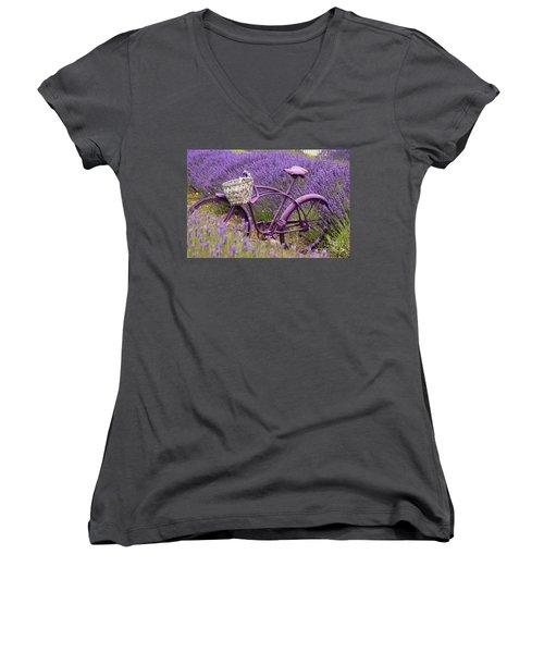 Lavender Bike Women's V-Neck T-Shirt