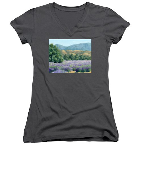 Women's V-Neck T-Shirt (Junior Cut) featuring the painting Lavender, Blue And Gold by Sandy Fisher