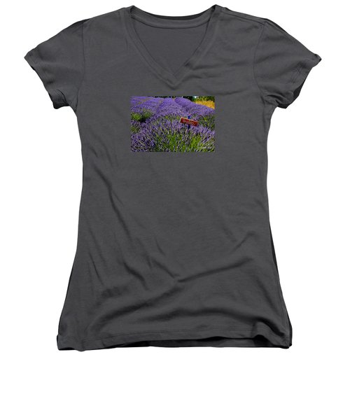 Women's V-Neck T-Shirt (Junior Cut) featuring the photograph Lavender Bounty 2 by Tanya  Searcy
