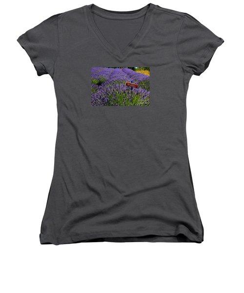Lavender Bounty 2 Women's V-Neck T-Shirt (Junior Cut) by Tanya  Searcy