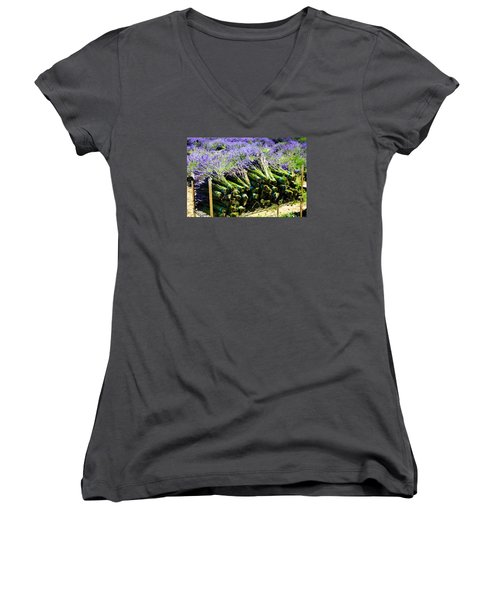 Women's V-Neck T-Shirt (Junior Cut) featuring the photograph Lavender Bounty by Tanya  Searcy