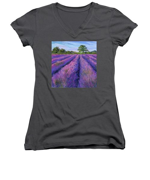 Lavender Field Women's V-Neck (Athletic Fit)