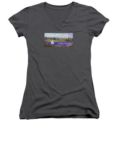 Lavender Splendor  Women's V-Neck T-Shirt