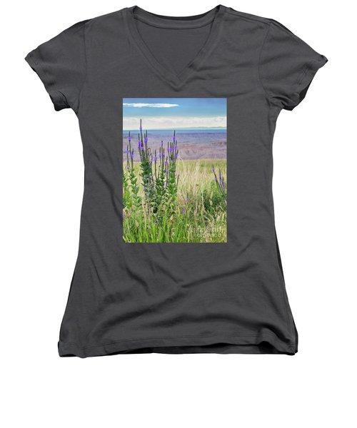 Lavender Verbena And Hills Women's V-Neck T-Shirt