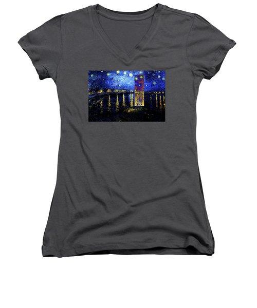 Layered 15 Van Gogh Women's V-Neck T-Shirt