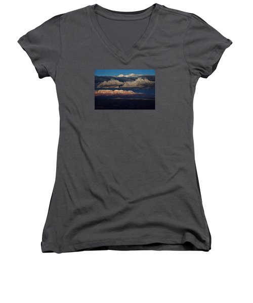 Women's V-Neck T-Shirt (Junior Cut) featuring the photograph Layered Light by Ron Chilston