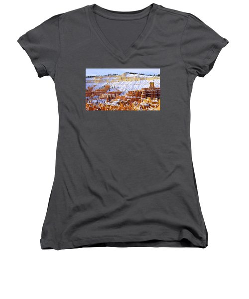 Women's V-Neck T-Shirt (Junior Cut) featuring the photograph Layers by Chad Dutson