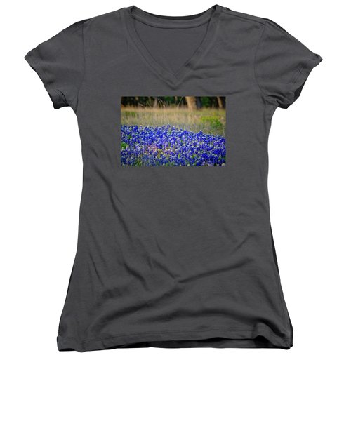 Women's V-Neck T-Shirt (Junior Cut) featuring the photograph Layers Of Blue by Linda Unger