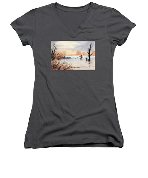 Laying Out The Decoys I Women's V-Neck T-Shirt (Junior Cut) by Bill Holkham